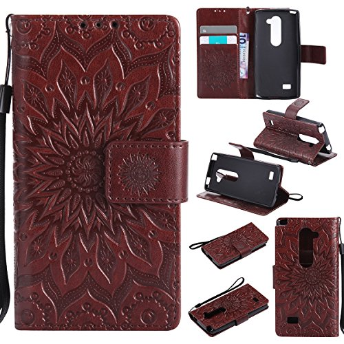 LG Leon LTE C40 H345 MS345 H340 H326 H320 / Tribute 2 LS665 / Sunset L33L / Power L22C / Destiny L21G (Released in 2015) Wallet Phone Case ihreesy Sun Embossed PU Leather Book Folio Cover-Brown