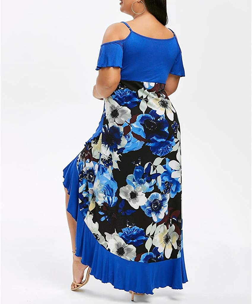 Plus Size Cold Shoulder Dress for Women Floral Print Spaghetti Strap Split Wrap Maxi Fishtail Dresses
