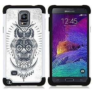 BullDog Case - FOR/Samsung Galaxy Note 4 SM-N910 N910 / - / SKULL OWL GREY PENCIL WHITE NATIVE /- H??brido Heavy Duty caja del tel??fono protector din??mico - silicona suave