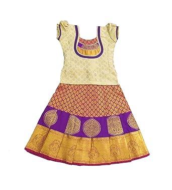 78016e3b40e Pattu Pavadai Baby Girls Silk Pavada (Magenta and Cream): Amazon.in ...