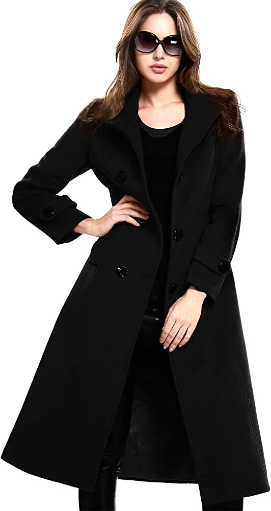 Women/'s Double Breasted solide Trench Coat Automne Hiver Vintage Turn-down Ceinture