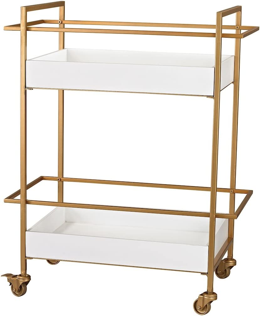 Sterling Home Gold and White Bar Cart accent table Multicolor