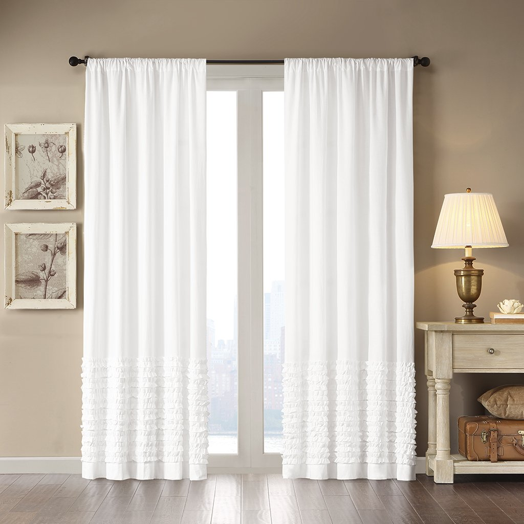 pin white solid size curtains curtain polyester panel decor reyna pair inches ruffle lush