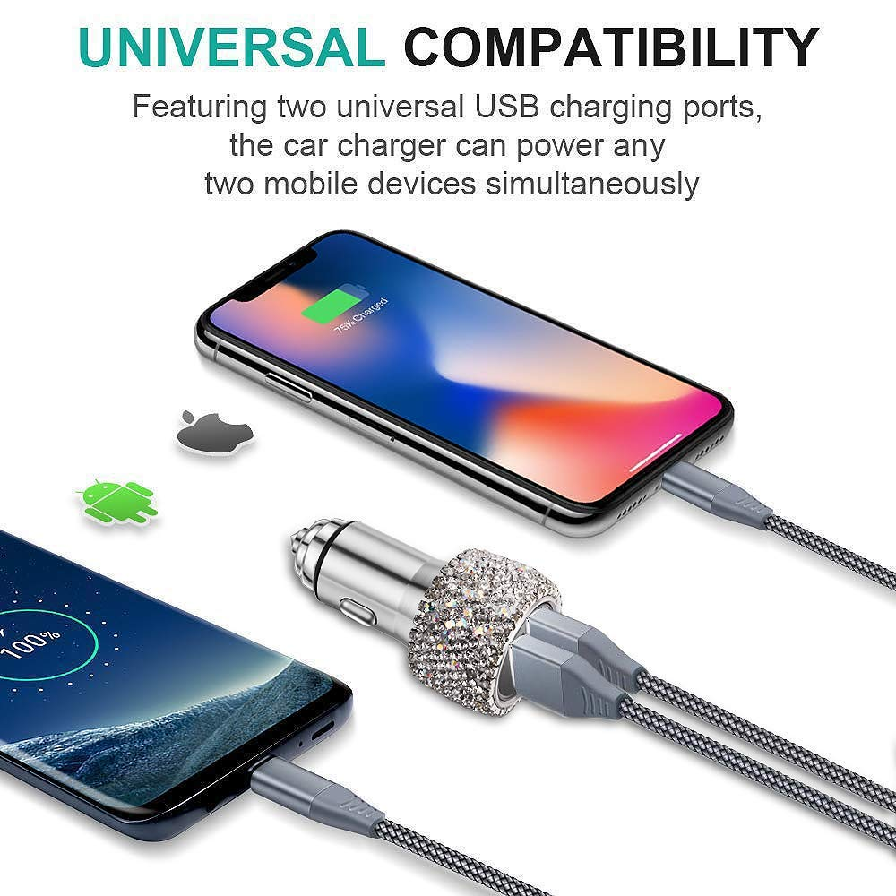 Silver MQOUNY Car Charger,Bling Diamond Dual Cushion Women Girls Charge USB Car Adapter Compatible for iPhone Xs Max//XR//XS//X//8//7//6 Plus,Galaxy S10//S10+//S10e//Note9 and More
