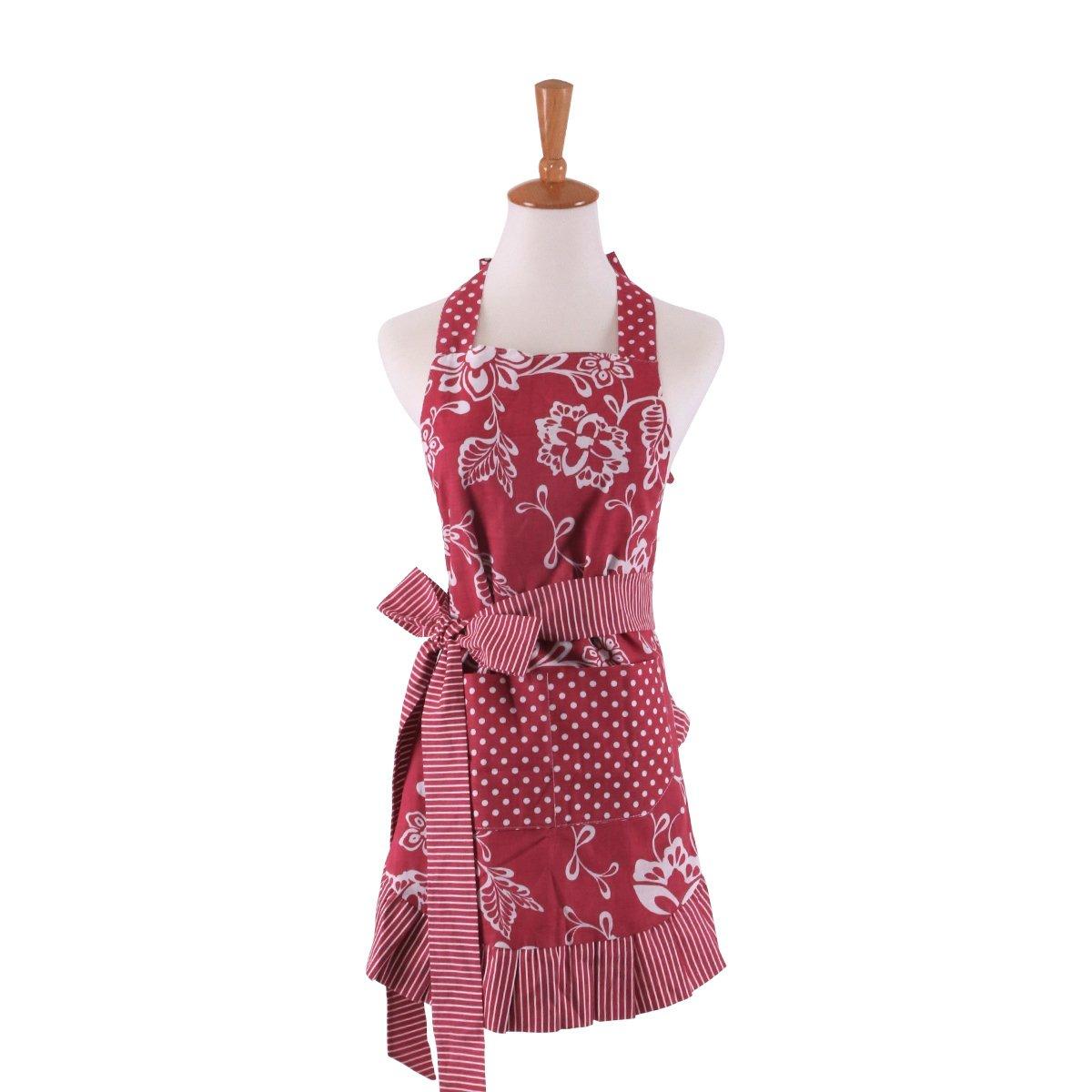 Abizoe Retro Vintage Women Cute Extra-long Tie Kitchen Adjustable Apron with Pocket for Home Shop Kitchen Baking Cooking Gardening (blue)
