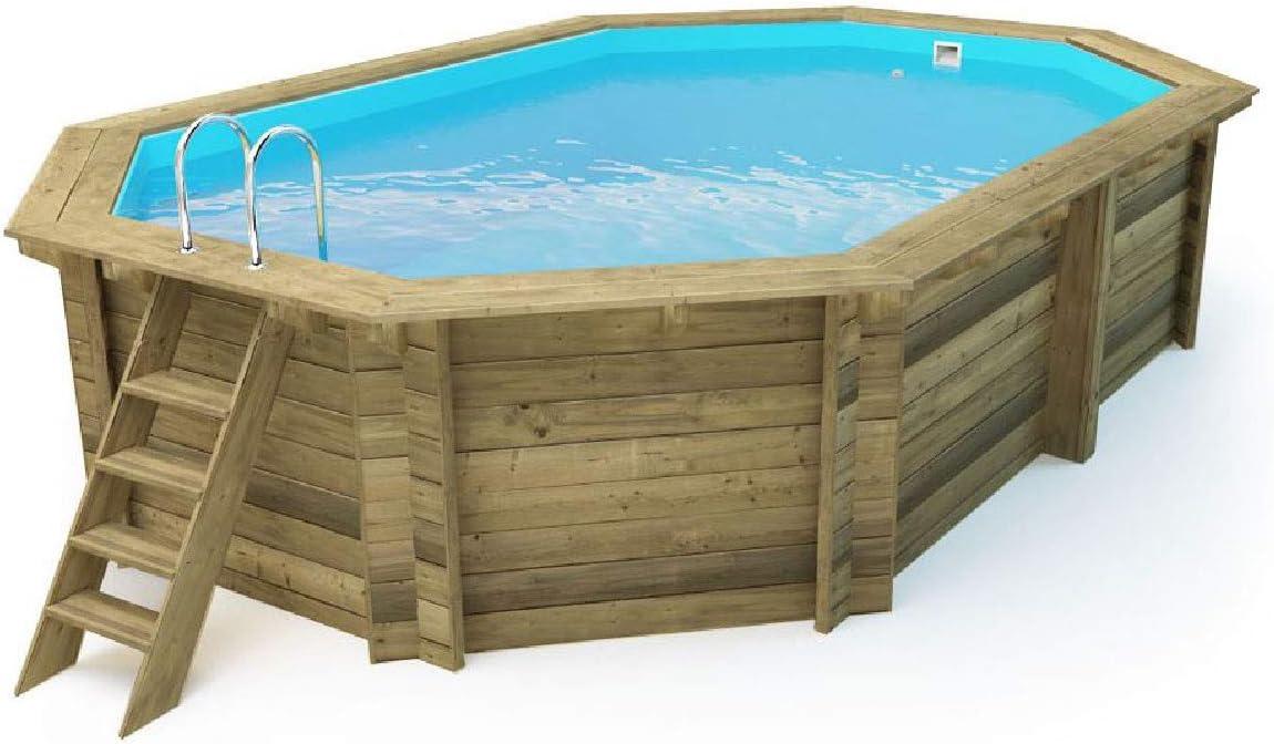 Salón tienda online piscina octogonal de madera impregnada Diámetro 486 cm x 336 x 120 H