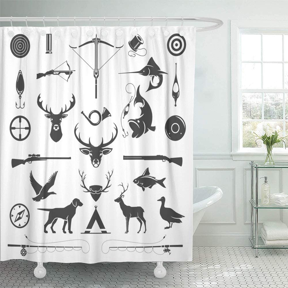 Abaysto Hunting and Fishing Vintage Deer Head Hunter Weapons Forest Wild  Animals Bathroom Decor Shower Curtain Sets with Hooks Polyester Fabric  Great