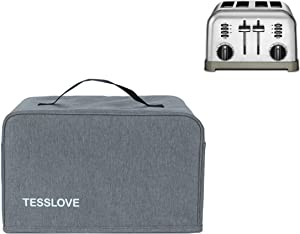 TESSLOVE toaster Dust Cover Compatible with Cuisinart 4 Slice Toaster, with 2 Pockets can put Jam Spreader Knife & Toaster Tongs, prevent from water Dust and Fingerprint