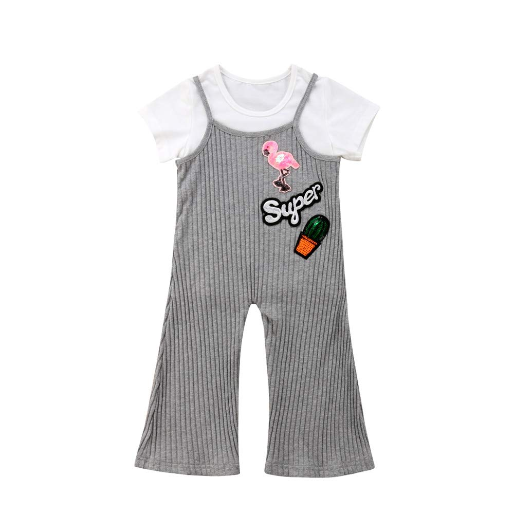 2Pcs/Set Kids Girls Tops T-Shirt+Bell Bottoms Pants Outfits Clothes Sets 1-6T