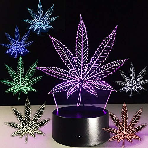 Marijuana Leaf 3D Illusion Lamp Led Optical Visual Night Light