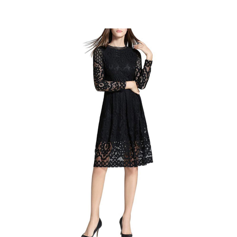 black Women Summer Dress 2018 Bohemian White Lace Crochet Summer Casual Long Sleeve Elegant Women Dress