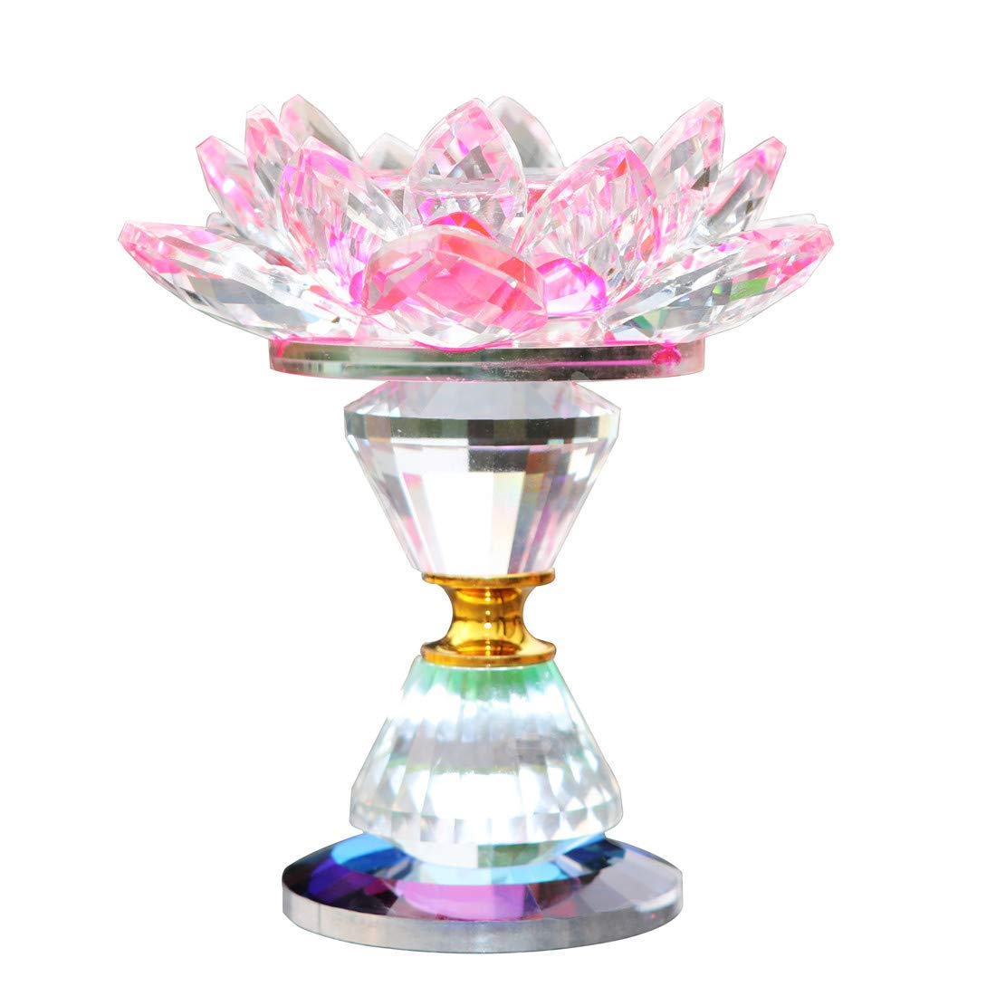 Waltz&F Crystal Lotus Flower Tealight Candle Holder 4.5 inch,Pink