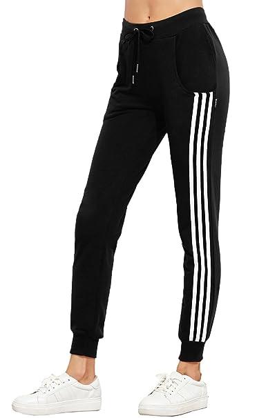 cheap for discount wide range presenting Damen Lässige High Waist Sweathose Hüfthose Jogginghose Sweatpants  Sporthosen Casual Seite Streifen Pants Lange Röhrenhosen Trainingshose