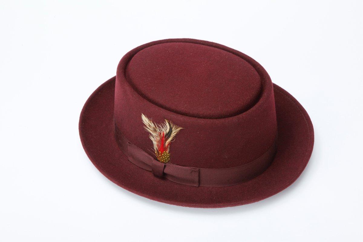 New Mens 100% Wool Brown Porkpie (Pork Pie) Hat