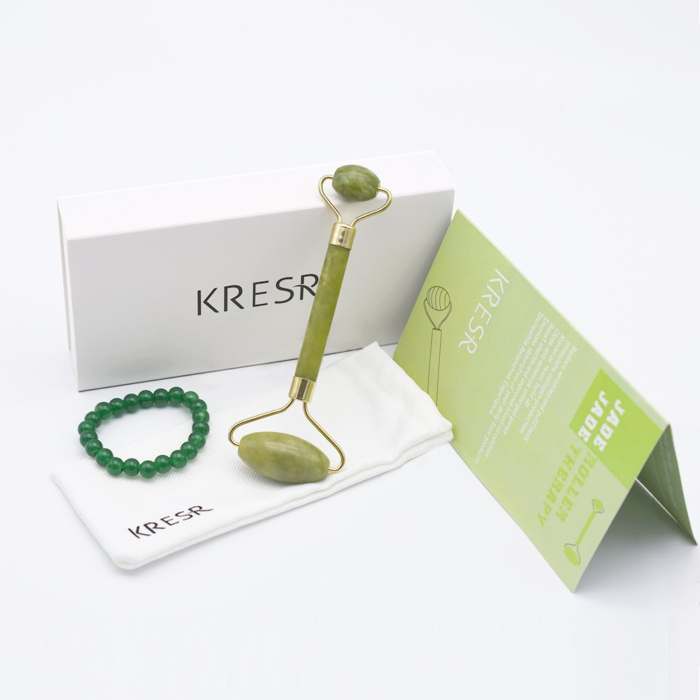 KRESR Jade Roller for Face,Jade Facial Roller, Anti aging Jade Roller Massager Real Jade 100% Jade Eye Roller Therapy Anti Wrinkle Treatment- Includes Carnelian Bracelets
