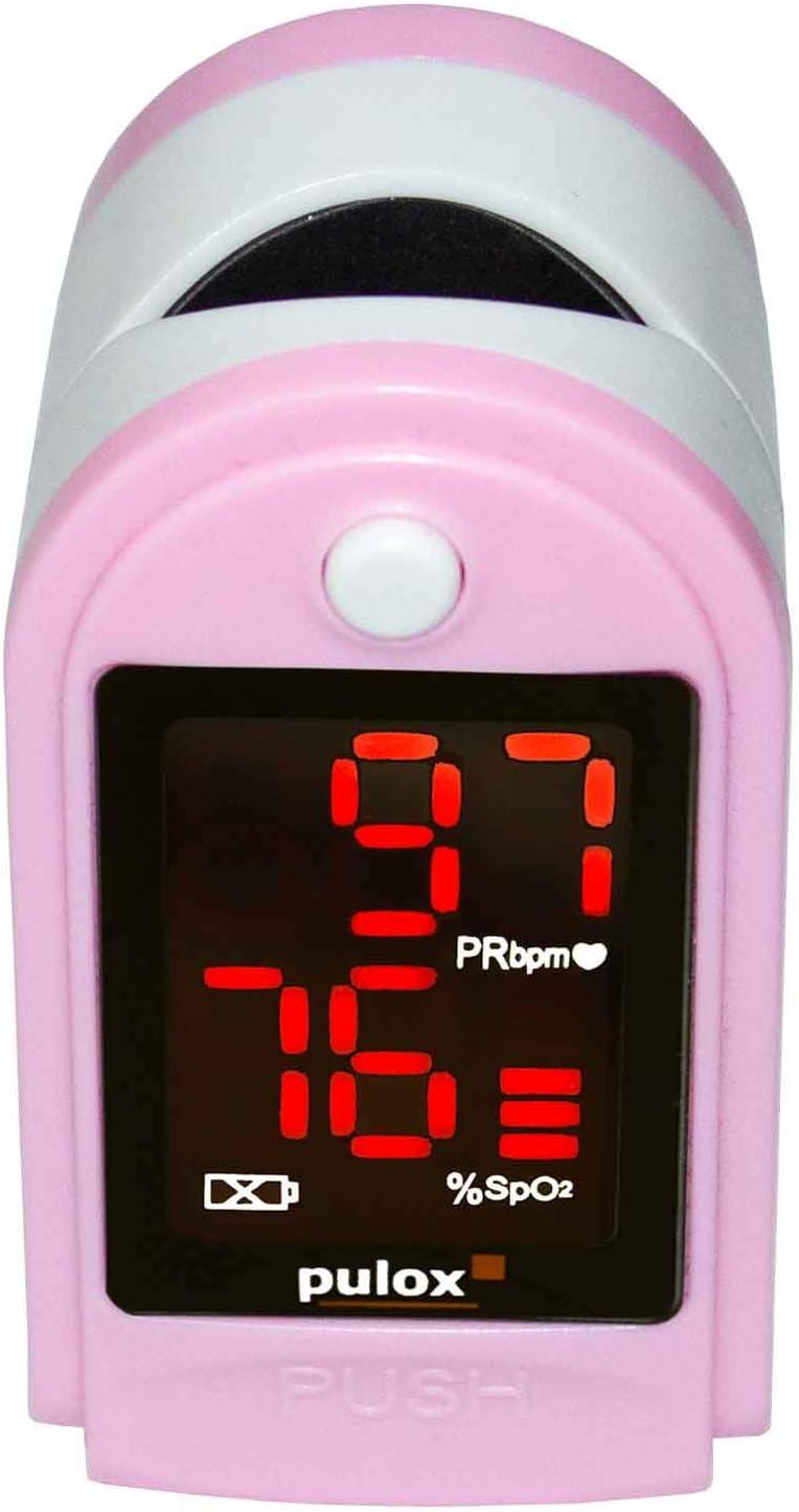 PULOX Po de 100oxímetro de pulso con pantalla LED, incluye carcasa rígida, Duracell Bat., funda, bolsa de nailon y correa