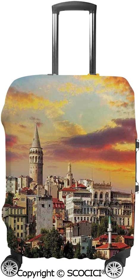 SCOCICI Luggage Bag Cover Istanbul at Sunset with the Sea Capital of Byzantine Old Roman Ancient Tower Print Elastic Suitcase Protective Cover Travel Luggage Case Cover