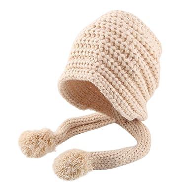 Sunenjoy Enfants Chapeau Cagoule Hiver Bonnet Chaud Tricot en Coton avec Pompon  de Fausse Fourrure Bonnet 3fe2ae01399