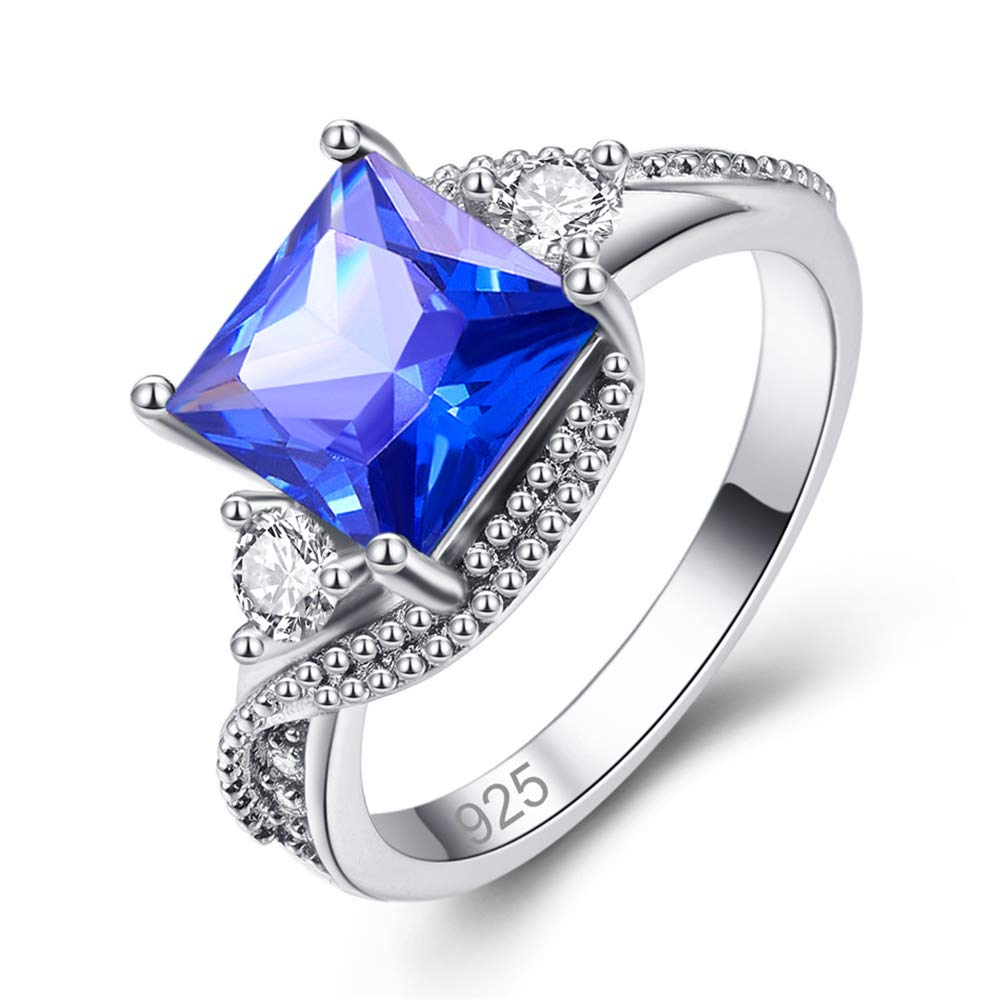 Psiroy 925 Sterling Silver Created Tanzanite Filled Princess Cut Promise Ring for Women Size 6