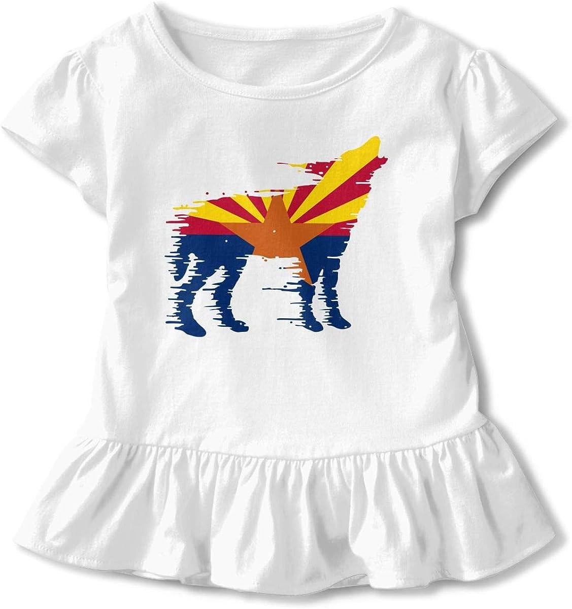 Arizona Flag Wolf Baby Girls Short Sleeve Graphic Shirts