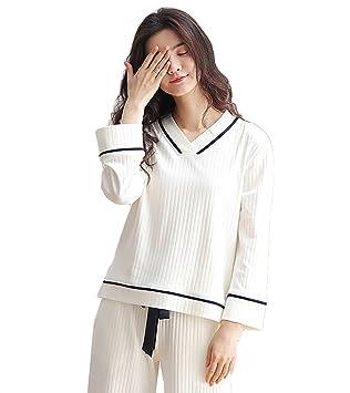 Pijamas De Algodón A Rayas De Las Mujeres Set Señoras De 2 Piezas De Ropa De