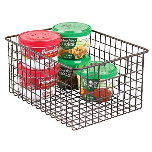 mDesign Kitchen Pantry Bathroom Office Garage Freezer Food Shelf Storage Organizer Heavy Duty Metal Wire Mesh Bins Baskets with Handles, 12