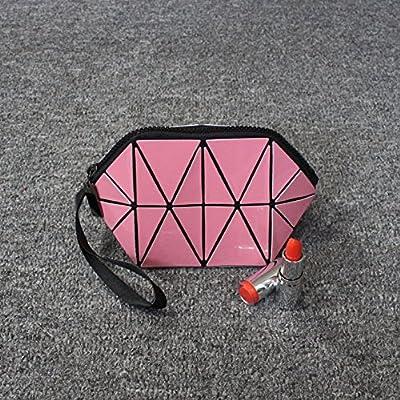 LULANLe président petit sac cosmétique portable grande beauté voyage Groupe d'admission géométrie ,20*10*10cm, Rose