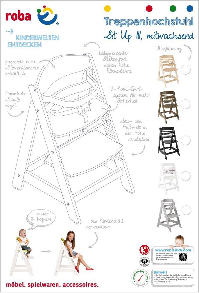 utilizable como trona autoajustable para beb/é y como silla juvenil acabado bicolor en madera natural y blanco. en madera maciza trona roba Sit Up III