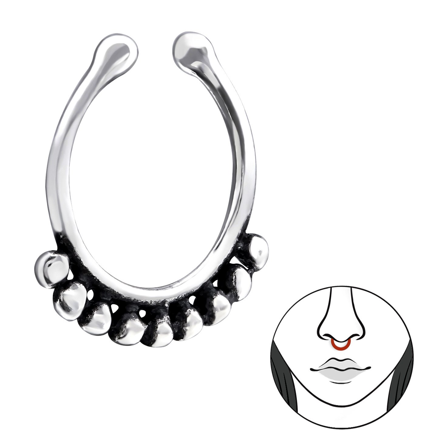 Best Wing Jewelry .925 Sterling Silver ''Bali-Style / Tribal-Style'' Tiny Small Non-Piercing Septum Piercing Clip-On Nose Clip, Nose Rings or Lip Rings