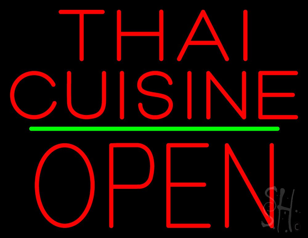 Thai Cuisine Block Open Green Line Outdoor Neon Sign 24'' Tall x 31'' Wide x 3.5'' Deep by The Sign Store