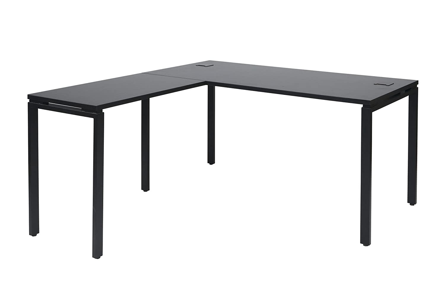 Amazon.com: Office Star Prado Complete L Shaped Desk With Laminate Top And  Metal Legs, Black: Kitchen U0026 Dining