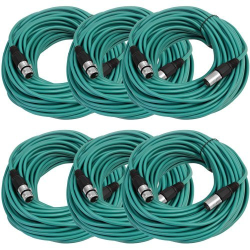 SEISMIC AUDIO - SAXLX-100-6 Pack of 100' Green XLR Male to XLR Female Microphone Cables - Balanced - 100 Foot Patch Cords [並行輸入品] B07DZK5Z2T