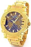 Super Techno Diamond Watch Mens Genuine Diamond Watch Oversized Gold Tone Metal Band w/ 2 Interchangeable Watch Bands