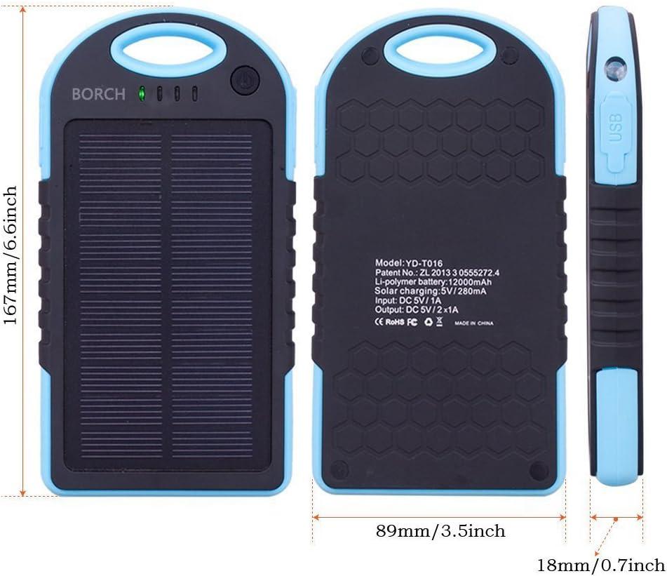 Borch Solar Panel 12000mah Portable Charger Blue