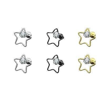 Ohrstecker Stern schwarz mit Zirkon aus Edelstahl Neu