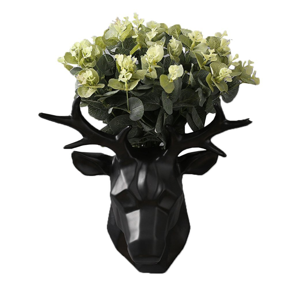 Hanging Planter Vase & Animals Deer Head Wall Decor Container - Great for Succulent Plants, Air Plant, Mini Cactus, Faux Plants and More (Black)