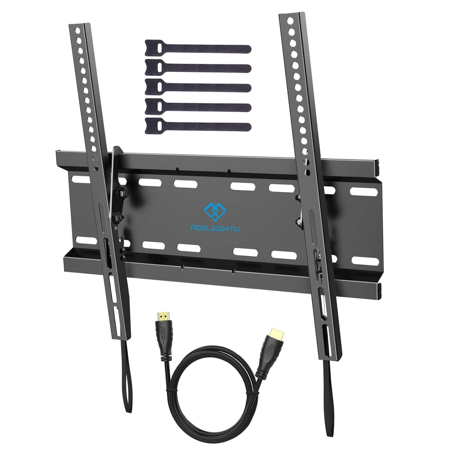 TV Wall Mount Bracket Tilt Low Profile for Most 23-55 Inch LED, LCD, OLED, Plasma Flat Screen TVs with VESA up to 115lbs (52.3kg) 400x400mm - Bonus HDMI Cable and Cable Ties by PERLESMITH PSMTK1-C