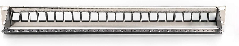 Rack de 19 pulgadas 16 puertos Negro 1U DIGITUS Patch Panel Modular Sin blindaje Para m/ódulos Keystone