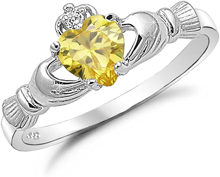 Irish Claddagh Promise Ring Sterling Silver Simulated Peridot Heart AND Round Simulated Diamond Accent Claddagh Engagement Ring