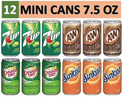 Mini Cans Variety Soda Drinks (12 Pack) of 7.5 Fluid Ounce Mini Cans - (3) 7up, (3) Canada Dry Ginger Ale, (3) A&W Root Beer, and (3) Sunkist Orange (6 Oz Soda)