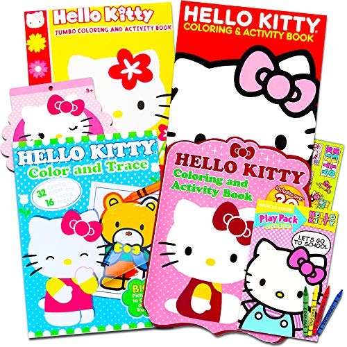 (Hello Kitty Coloring & Activity Book Super Set -- 5 Hello Kitty Coloring Books, Crayons, Over 350 Hello Kitty Stickers and More (Hello Kitty Party Pack) )