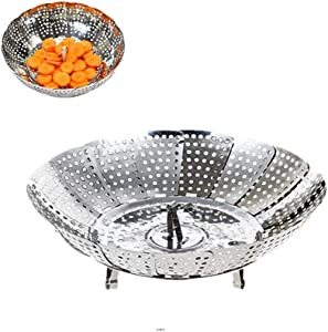 RUITASA  Stainless Steel Steamer Basket,Vegetable Steamer Basket,Folding Collapsible Basket for Veggie Fish Seafood Cooking,6-Inch Expands to 9.5-Inch