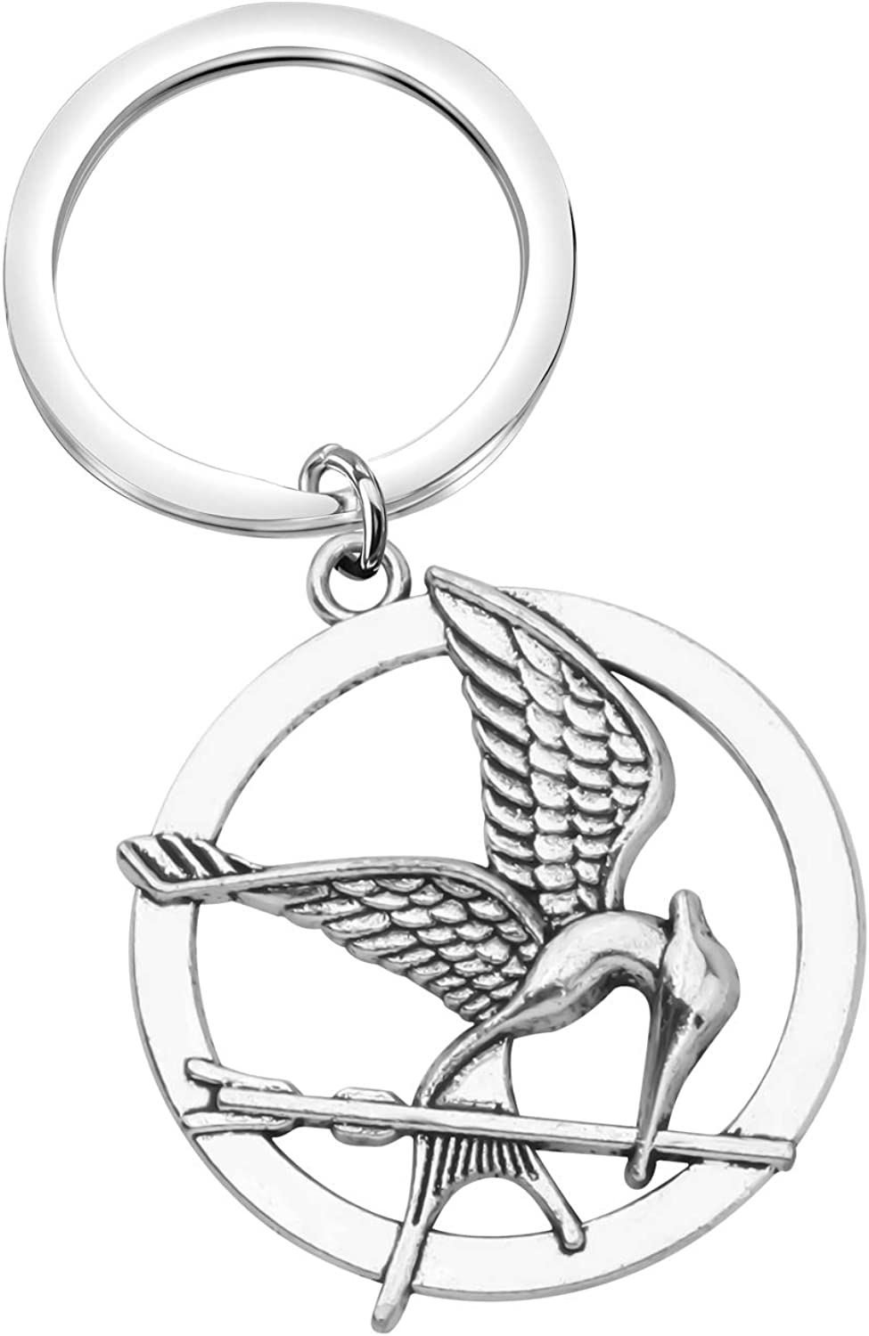 SEIRAA The Hunger Games Movie Mockingjay Jewelry Arrow Jewelry Bird with Arrow Circular Keychain for Movie Fans