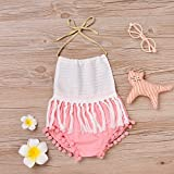Baby Girls Halter Backless Splice Tassels Pompom