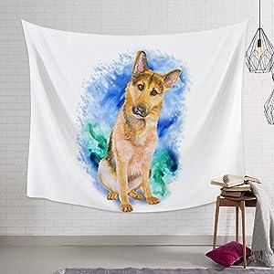 Dog Lover Decor Wall Hanging Bedding Tapestry Tapestries Art Print Mural for Bedroom Living Room Dorm Home Décor German Shepherd Illustrations 39x59inch