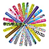WATINC 36P Slap Bracelets Party Favors Pack (36 Different Designs) Slap Bands with Colorful Pattern Emoji for Easter Birthday Party Favors and School Classroom Prize