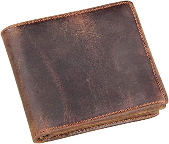 New Men/'s Genuine Leather RFID Blocking Vintage Italian Slim Bifold Wallet