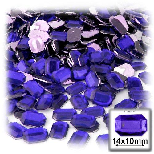 長方形の八角形クラフトアウトレット144アクリルアルミ箔フラットバックラインストーン、10by 14mm、ロイヤルブルーの商品画像