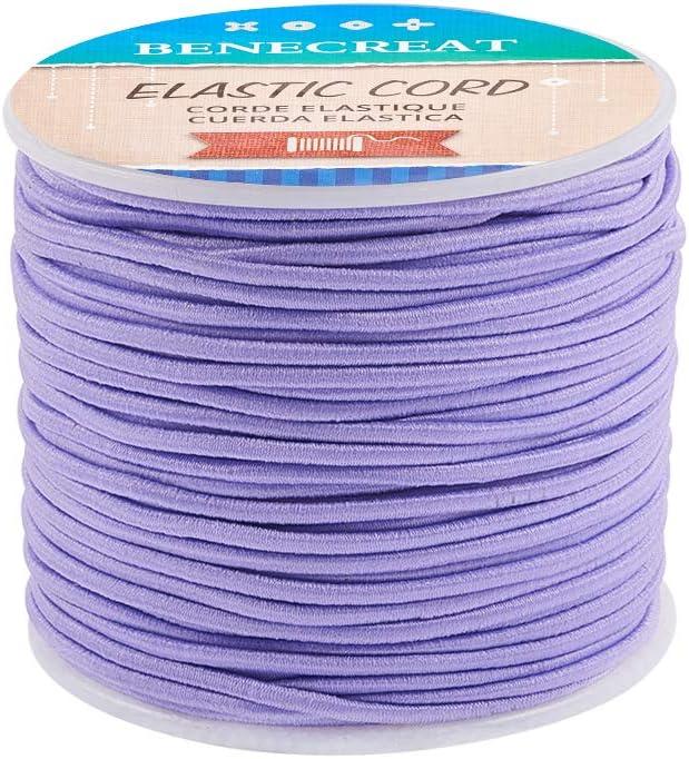 BENECREAT 50m 2mm Cordón Elástico Hilo de Nylon de Rebordear Tela Hilo para Cuentas Pelo y Manualidad Lila