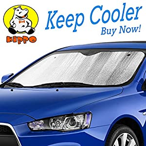 "Hippo Front Car Sunshade Windshield-Jumbo/Standard Sun Shade Keeps Vehicle Cool-UV Ray Protector Sunshade-Easy to Use Sun Shade-Silver(54.7""X 28.3"")"